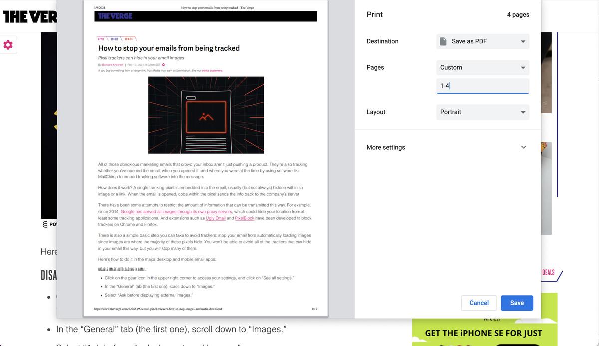 Este o idee bună să selectați paginile pe care doriți să le salvați în PDF