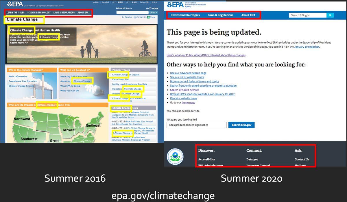 Capturi de ecran alăturate ale site-ului EPA despre schimbările climatice, care arată conținutul din 2016 eliminat până în 2020.