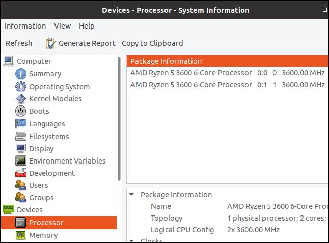 afișajul procesorului hardinfo