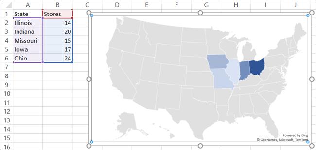 Diagramă hartă cu date în Excel