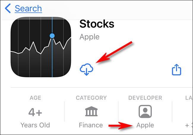 """În App Store, verificați dacă dezvoltatorul este """"Măr,"""" apoi atingeți pictograma de descărcare în cloud."""