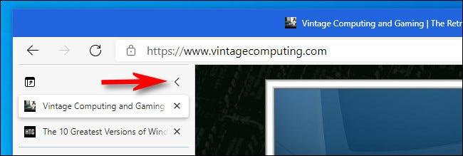 În coloana cu file verticale Edge, faceți clic pe butonul vertical carat pentru a restrânge lista de file.