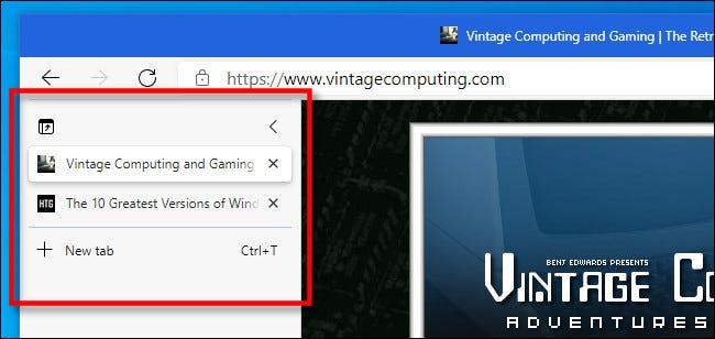 Un exemplu de file verticale în Microsoft Edge.