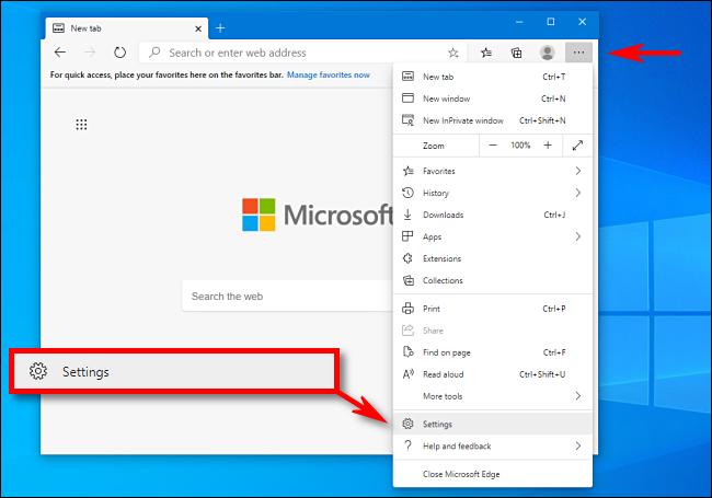 Faceți clic pe Setări în Microsoft Edge