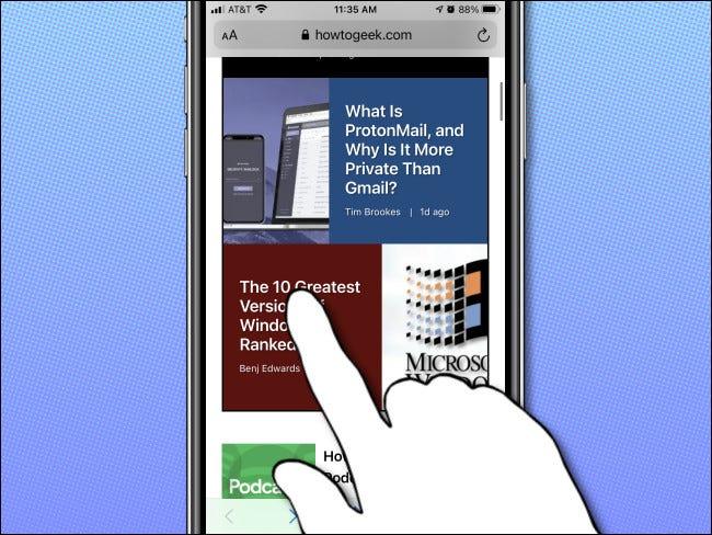 Pe iPhone, apăsați lung pe un link pentru a vedea o previzualizare.