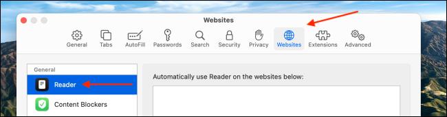 Faceți clic pe site-uri web și alegeți secțiunea Reader