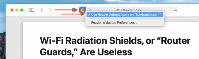 Dezactivați modul Reader automat pentru site-ul web în Safari pentru Mac