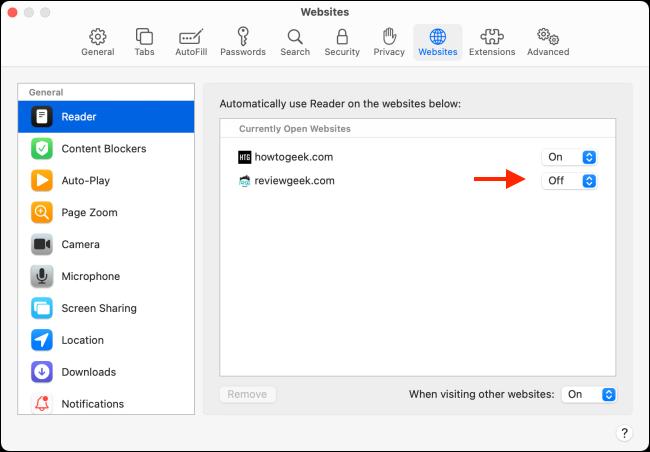 Toate site-urile web cu setări ale modului Reader în Safari pentru Mac