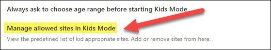 gestionați site-urile web permise
