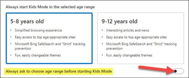 cereți întotdeauna să alegeți intervalul de vârstă