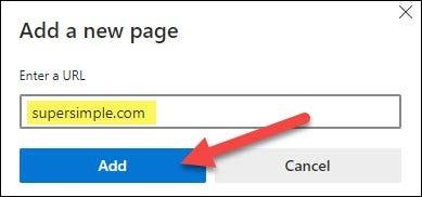 introduceți o adresă URL și faceți clic pe adăugare