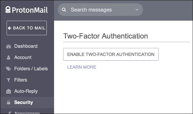 Activați autentificarea cu doi factori în ProtonMail