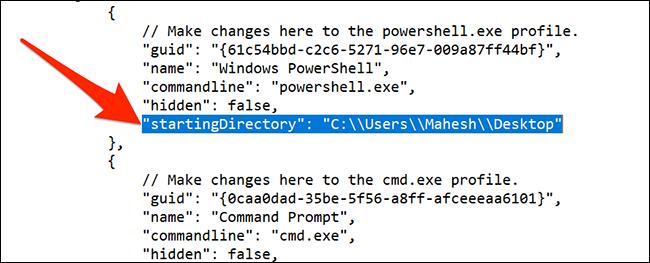 Resetați directorul implicit în Windows Terminal
