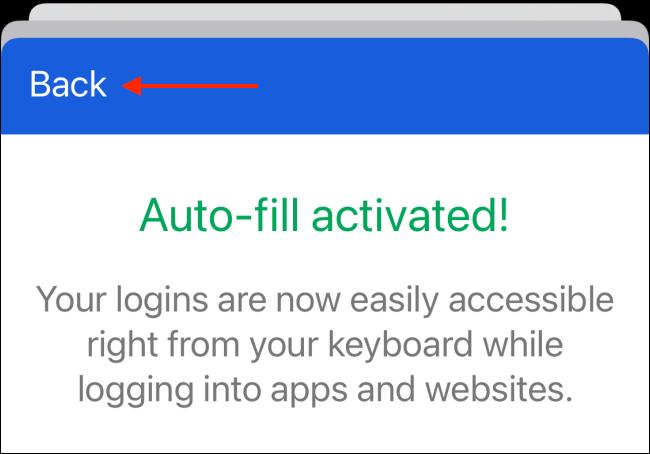 Atingeți butonul Înapoi după autentificare