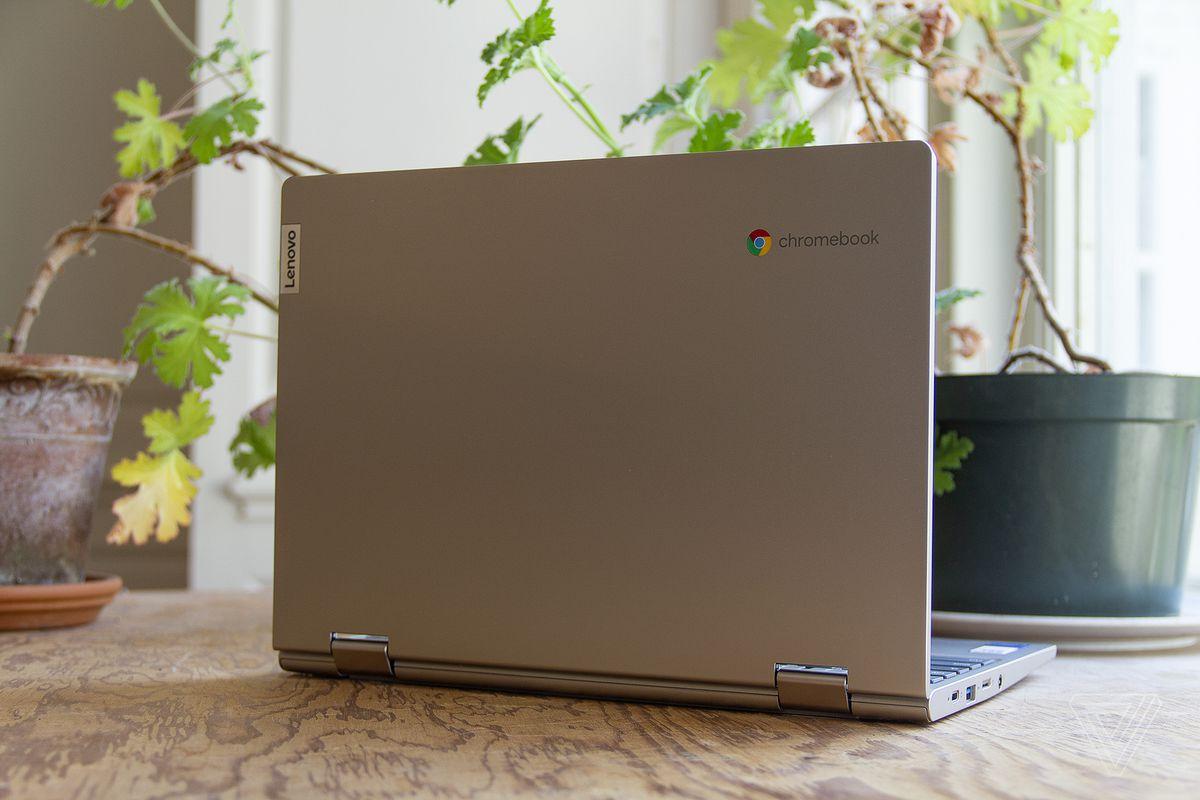 Chromebookul Lenovo Ideapad Flex 3 deschis, văzut din spate, înclinat ușor spre dreapta, pe o masă în fața a două plante de apartament.