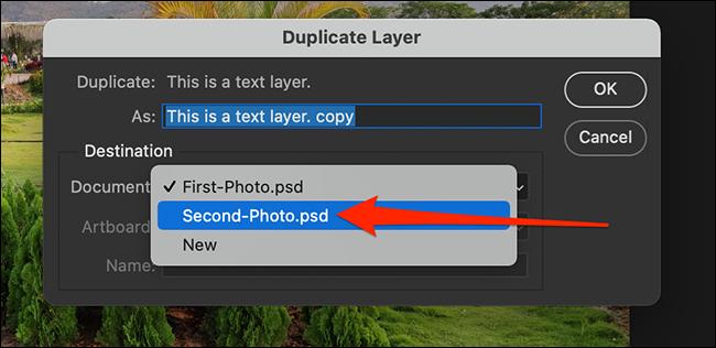 """Selectați un document de destinație în """"Strat duplicat"""" fereastră."""