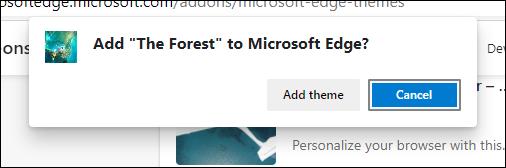 Adăugați butonul de confirmare a temei în Edge
