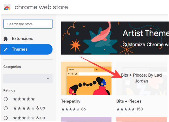 Faceți clic pe miniatură Teme în magazinul web Chrome
