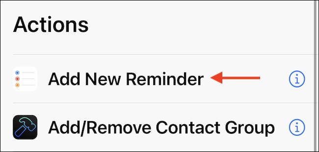 """Folosește """"Adăugați un memento nou"""" acțiune în comandă rapidă."""