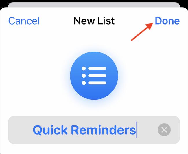 """Personalizați lista cu un nume, culoare și pictogramă.  Apoi atingeți """"Terminat"""" pentru a-l salva."""