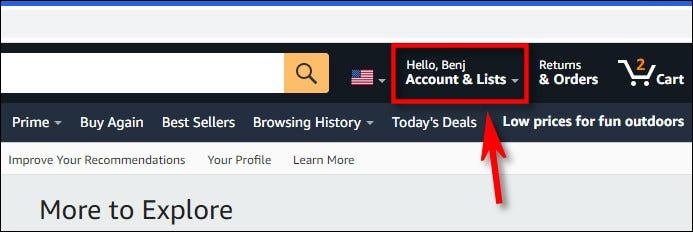 Faceți clic pe numele contului dvs. în bara de instrumente Amazon.com.
