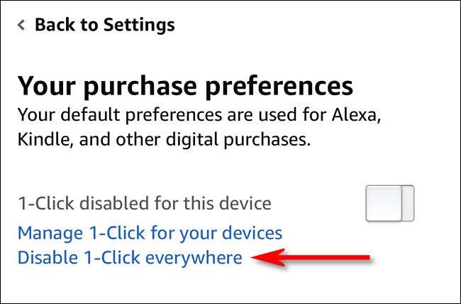 """Atingeți """"Dezactivați 1-Click oriunde."""""""