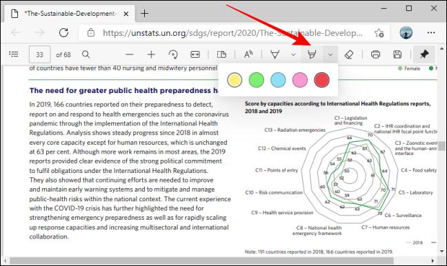 Evidențiați opțiunile de culoare ale instrumentului în bara de instrumente PDF din Microsoft Edge