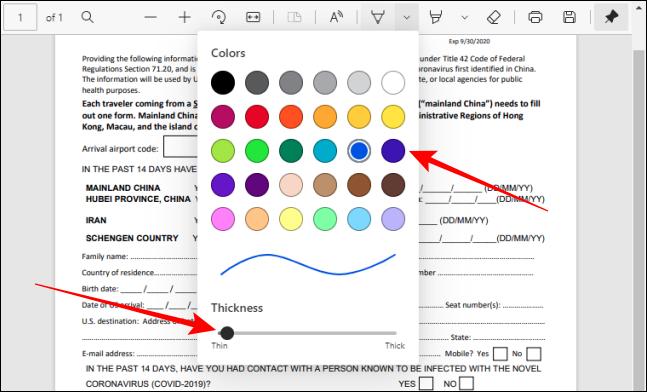 Alegeți culoarea și reglați grosimea instrumentului stilou în Bara de instrumente PDF din Edge