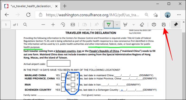 Butonul Salvare pe bara de instrumente PDF din Microsoft Edge