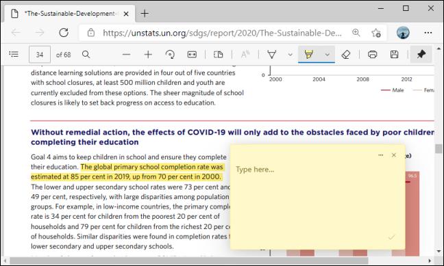 Casetă de comentarii pe PDF în Microsoft Edge