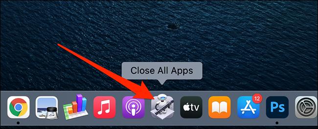 """""""Închideți toate aplicațiile"""" aplicație pe Dock-ul unui Mac."""