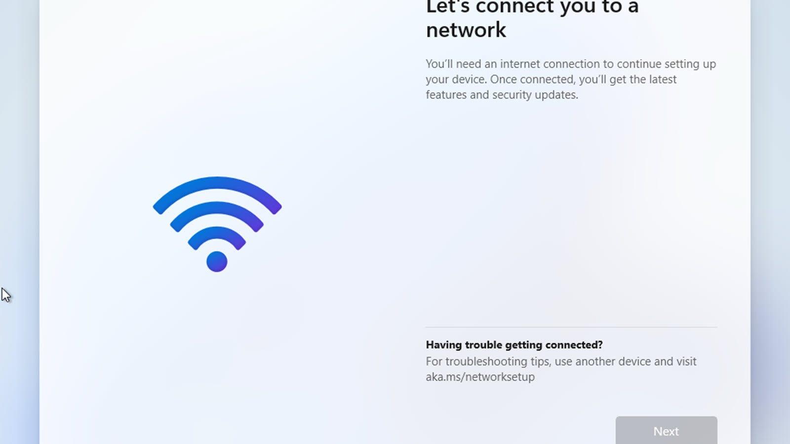 """A """"să vă conectăm la rețea"""" ecran, fără opțiuni pentru a merge mai departe."""