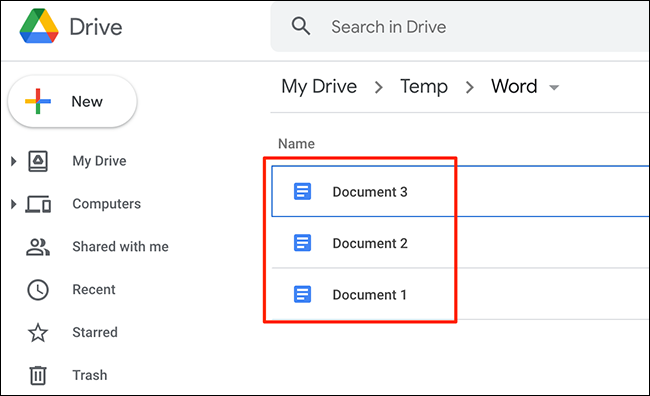Un exemplu de fișiere convertite în formatul Google Docs de pe site-ul Google Drive.