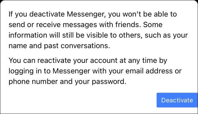 Butonul Dezactivați pentru Facebook Messenger