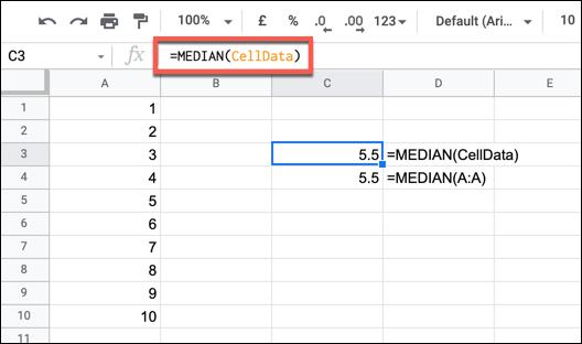 Un exemplu de formulă MEDIAN utilizând un interval numit.