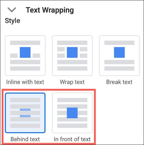 Extindeți Text Wrapping și alegeți În spatele textului sau În fața textului