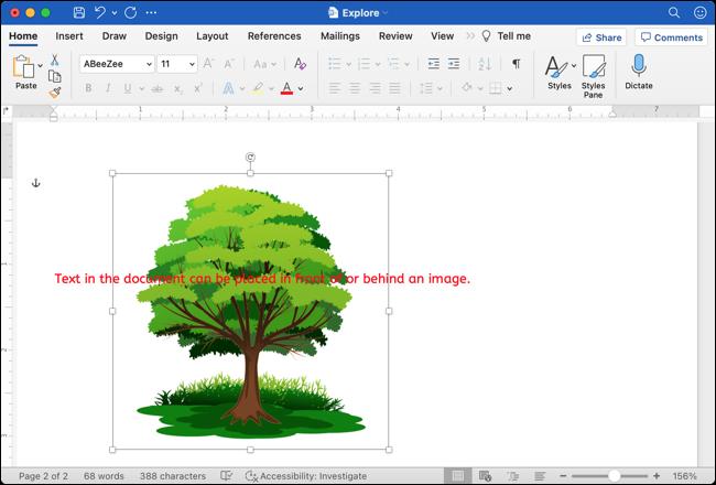 Imagine din spatele textului din Google Docs în Word