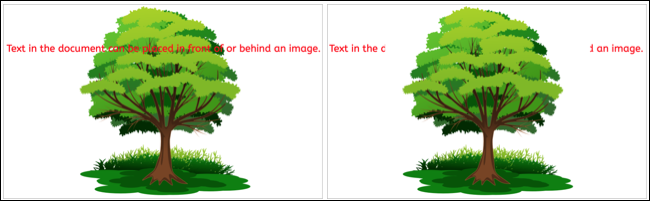 Imagine în spatele și în fața textului în Google Docs