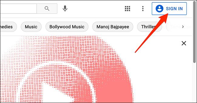 O interfață deconectată de pe YouTube.