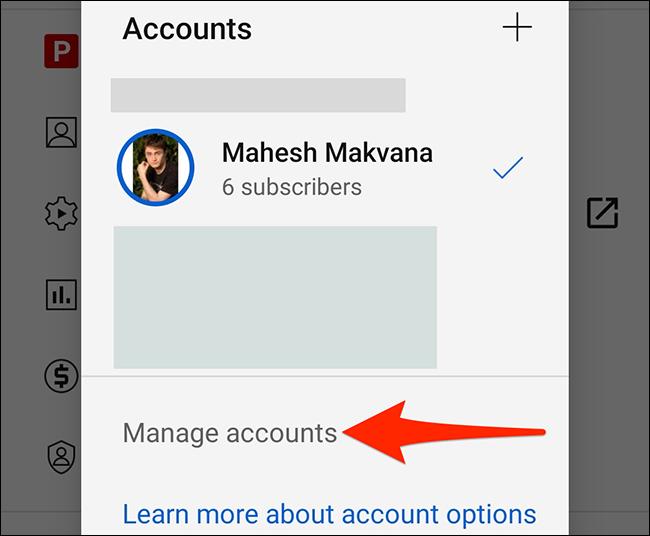 """Selectați """"Gestionați conturile"""" pe YouTube """"Conturi"""" ecran."""