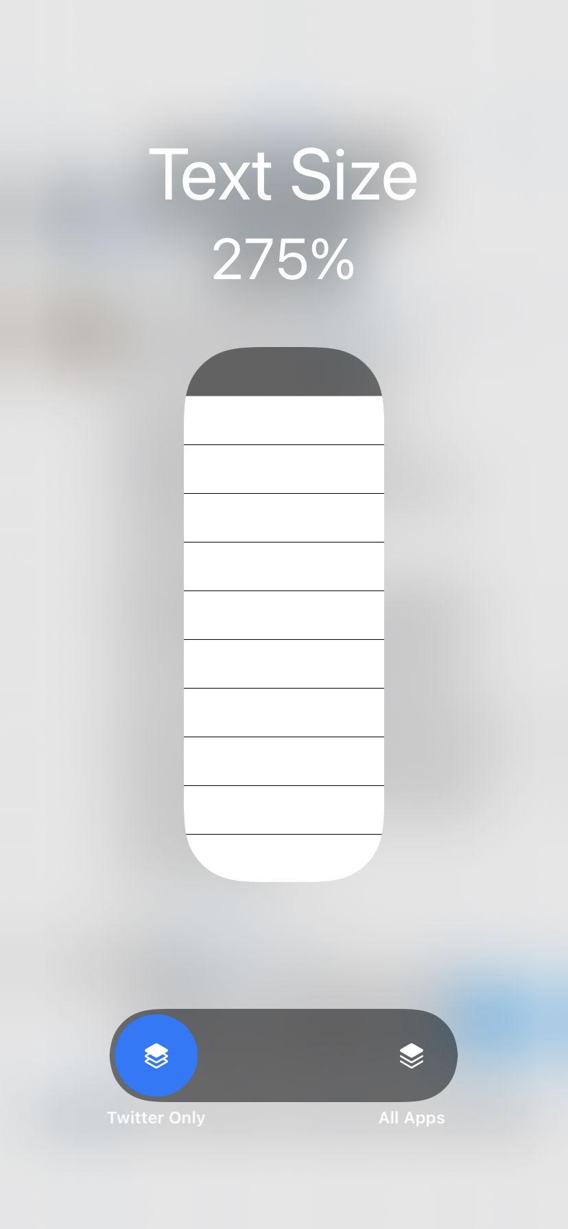 Comutarea din partea de jos vă permite să comutați dimensiunea textului pentru o singură aplicație.