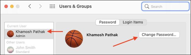 """Selectați profilul de utilizator și faceți clic pe """"Schimbați parola"""" pentru a schimba parola."""