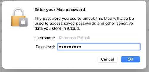 Introduceți parola Mac în secțiunea ID Apple pentru a continua să folosiți iCloud pe Mac.