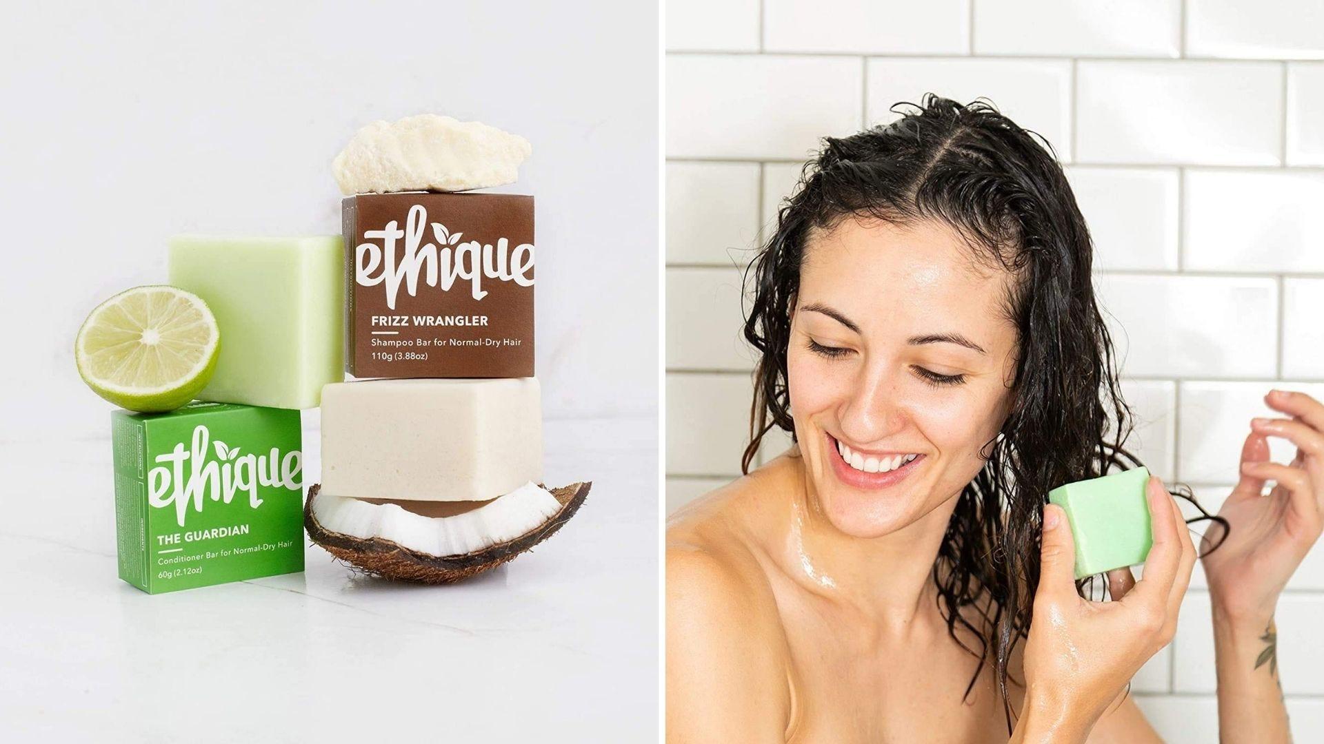 Un set de șampon și balsam și o femeie își spală părul cu un șampon