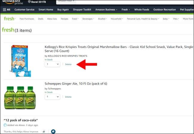 Pagina coșului de cumpărături Amazon Fresh.