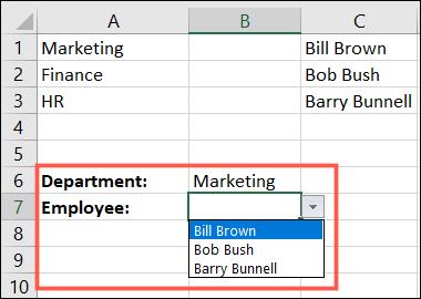 Listă verticală dependentă în Excel