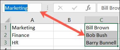 Denumiți un grup de celule în Excel