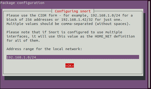 furnizarea detaliilor rețelei în notație CIDR într-un terminal windwo
