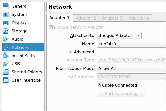 Fila Setări adaptor de rețea VirtualBox