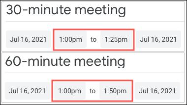 Durate rapide ale întâlnirilor în Google Calendar
